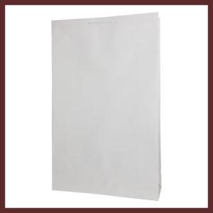 laminowana torba papierowa biała t5,białe torby laminowane, torby papierowe solidne, eleganckie torby bez nadruku
