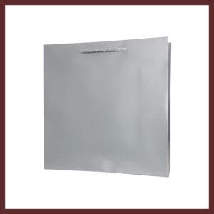 laminowana torba papierowa srebrna t3,białe torby laminowane, torby papierowe solidne, eleganckie torby bez nadruku