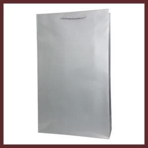laminowana torba papierowa srebrna t4,białe torby laminowane, torby papierowe solidne, eleganckie torby bez nadruku