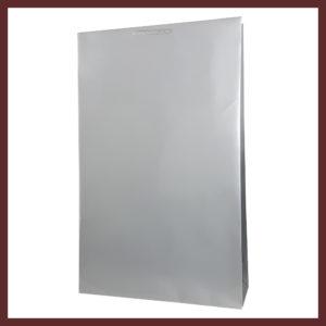 laminowana torba papierowa srebrna t5,białe torby laminowane, torby papierowe solidne, eleganckie torby bez nadruku