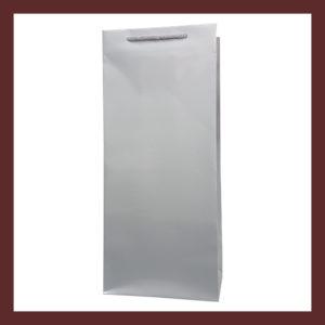 torby laminowane,eleganckie torebki papierowe bez nadruku, srebrna torebka papierowa na wino