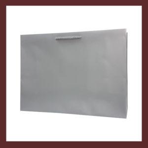 laminowana torba papierowa srebrna t8,białe torby laminowane, torby papierowe solidne, eleganckie torby bez nadruku