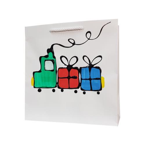 świąteczna torba papierowa biała pociąg prezenty