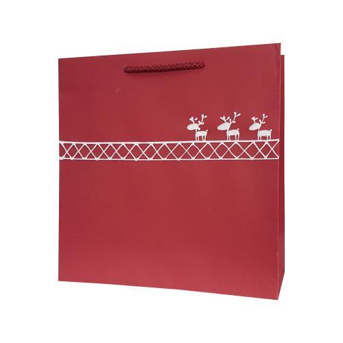 świąteczna torba papierowa bordowa reniferki