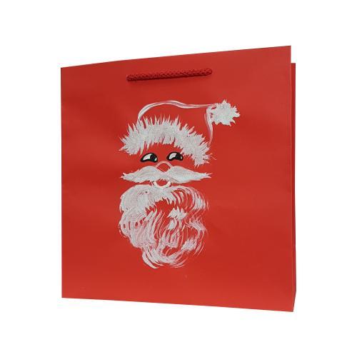 świąteczna torba papierowa czerwona mikołaj
