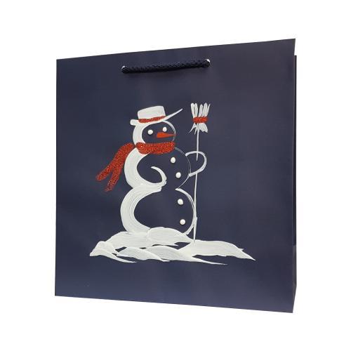 świąteczna torba papierowa granatowa bałwan