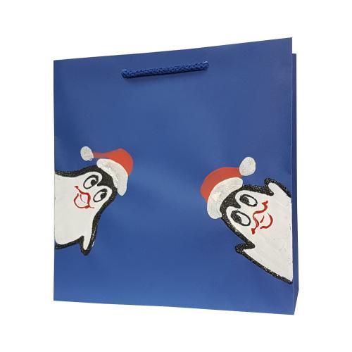 świąteczna torba papierowa niebieska pigwiny