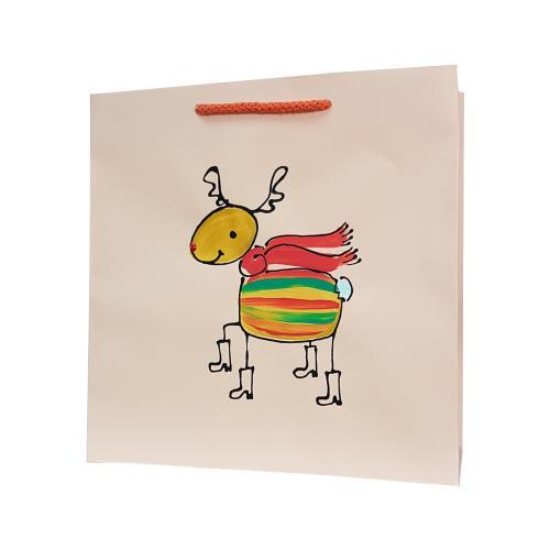 świąteczna torba papierowa pastelowy pomarańcz renifer