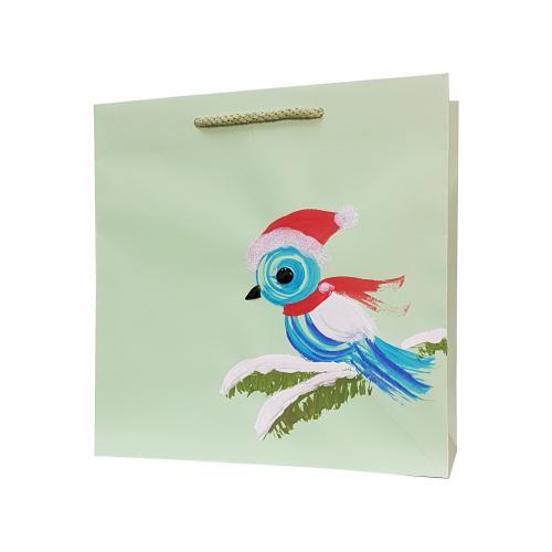 świąteczna torba papierowa pastelowy zielony ptaszek