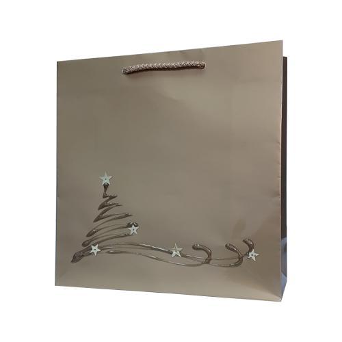 świąteczna torba papierowa złota choinka na sankach