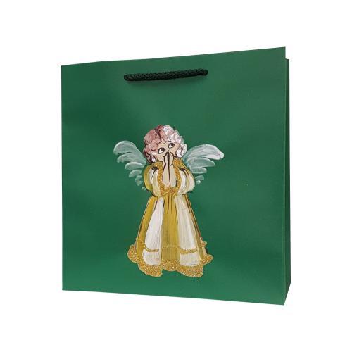 świąteczna torba papierowa zielona aniołek