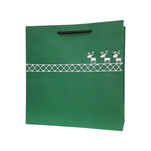 świąteczna torba papierowa zielona reniferki