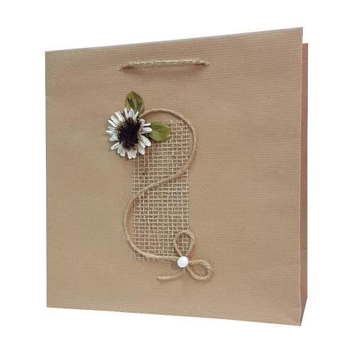 eco ręcznie zdobione torby papierowe biały kwiatek