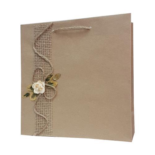 eco ręcznie zdobione torby papierowe biały kwiatek z kokarda