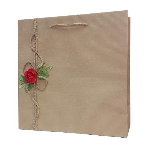 eco ręcznie zdobione torby papierowe czerwony kwiatek z kokarda