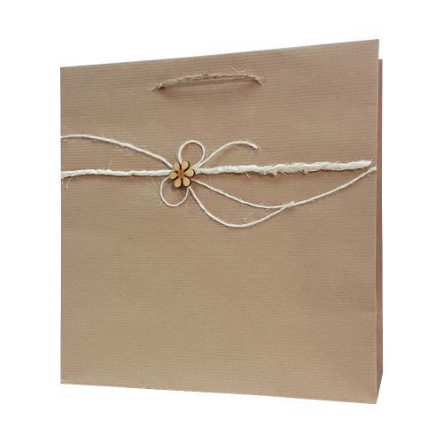 eco ręcznie zdobione torby papierowe kokarda kwiatek