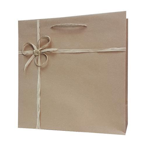 eco ręcznie zdobione torby papierowe kokarda rafia