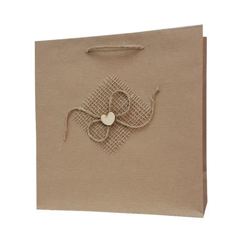 eco ręcznie zdobione torby papierowe kokarda sercwe