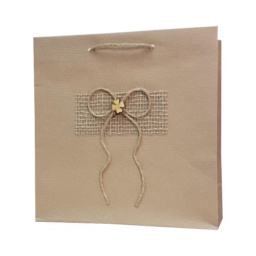 eco ręcznie zdobione torby papierowe kokarda z koniczynką