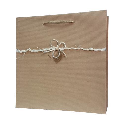 eco ręcznie zdobione torby papierowe kokardka biała
