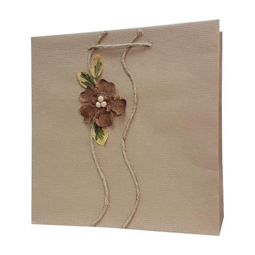 eco ręcznie zdobione torby papierowe kwiatek brązowy