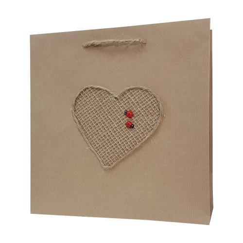 eco ręcznie zdobione torby papierowe serce z biedronką