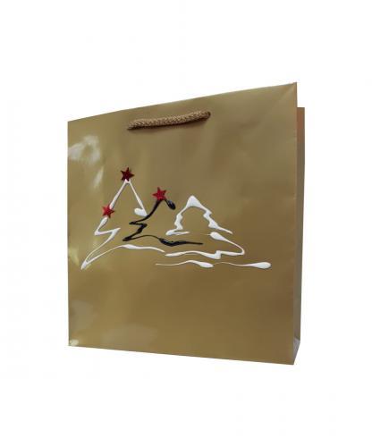 torba+papierowa+złota+trzy+choinki+biało+czerwone