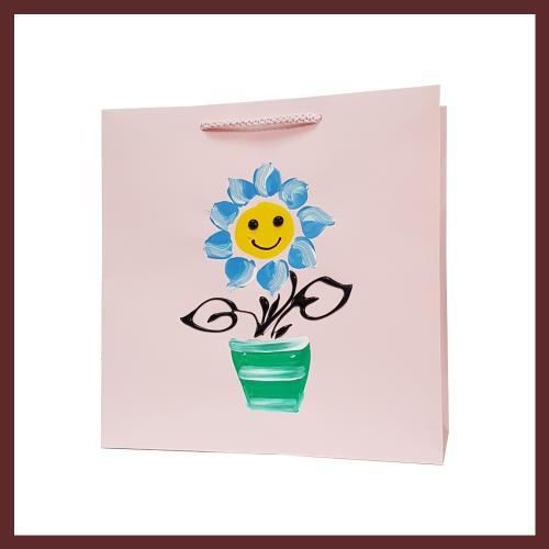 torby dla dzieci ,kwiatek dziecięce torebki papierowe, torby na prezent dla dziecka, ręcznie malowane, hand made