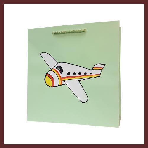 torby dla dzieci , samolot dziecięce torebki papierowe, torby na prezent dla dziecka, ręcznie malowane, hand made