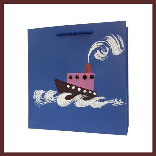 torby dla dzieci , statek dziecięce torebki papierowe, torby na prezent dla dziecka, ręcznie malowane, hand made